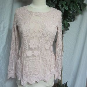 Maurices Peach Pink Rose Lace Cotton Blouse top M